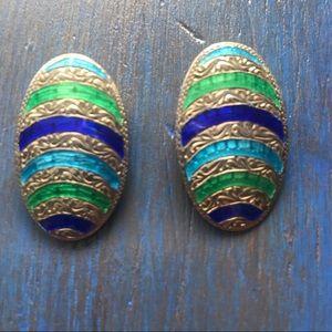Vintage Sterling Silver Siam Enamel Clip Earrings